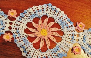 crocheted lily close-up, doily,