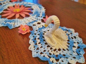crocheted swan doily, crocheted lilies