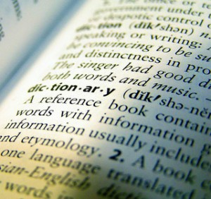 "Words on page of dictionary defining ""dictionary"",written text of dictionary"