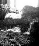 hay loft Window, hay loft; hay bales in hayloft; black and white photo