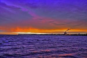 Sunrise, Lake Superior, Chequamegon Bay, Ashland, Wisc., oredock, Sunrise on lake