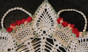 crochet, crocheted baskets,pineapple motif, doily