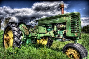 green tractor,