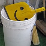 pail, white pail, dust pan, smiley face,