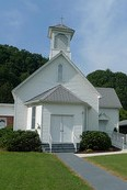 country church, church, steeple