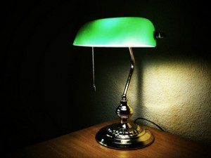 desk lamp, green desk lamp, glass lampshade, pull string, brass lamp,
