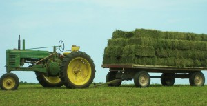 green tractor, hay wagon, hay bales, alfalfa hay