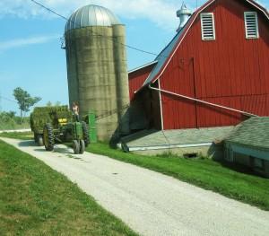 Hay bales, hay wagon, red barn, silo, cupela