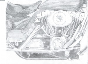 motorcycle, motor, motorcycle motor, pencil sketch of motorcycle motor,