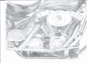 motorcycle, motor, motorcycle motor, pencil sketch of motorcycle motor,