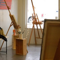 Oil painting, painter's studio, easels,