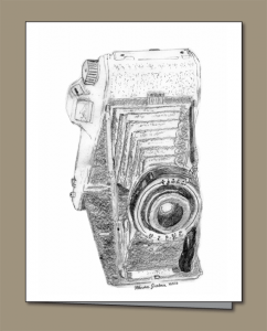 pencil sketch of old folding camera
