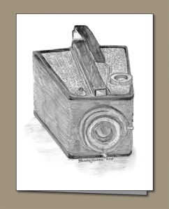 pencil sketch of box camera, box camera