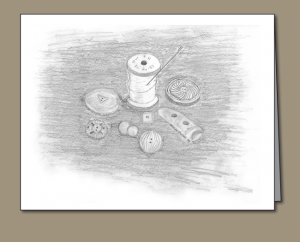 pencil sketch of wooden spool and antique buttons, Wooden spool, Thread