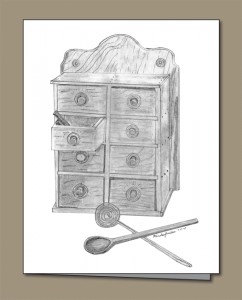 pencil sketch of antique spice rack, wooden spoon