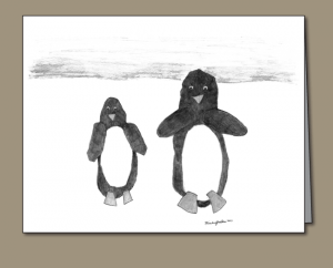 penguins, penguin art, penguin drawing, pencil drawing, children's penguin art, penguin note card, note card,