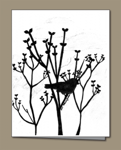 lilac buds, sparrow, silhouette,