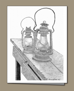 pencil sketch of antique kerosene lanterns on wooden work bench