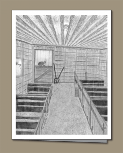 pencil drawing of calf shed, cat, inside a calf shed, calf stalls,