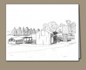 chicken house, brooder house, pencil sketch of a chicken coop, rural building greeting card, farm building greeting card, calf shed, corn crib, hay wagon,