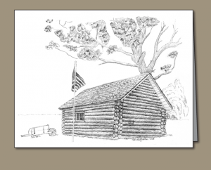 log cabin sketch, pencil sketch, U.S. flag, wheel barrow, antique wheel barrow,