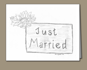 Just Married, Just married sign, Crysanthemum.