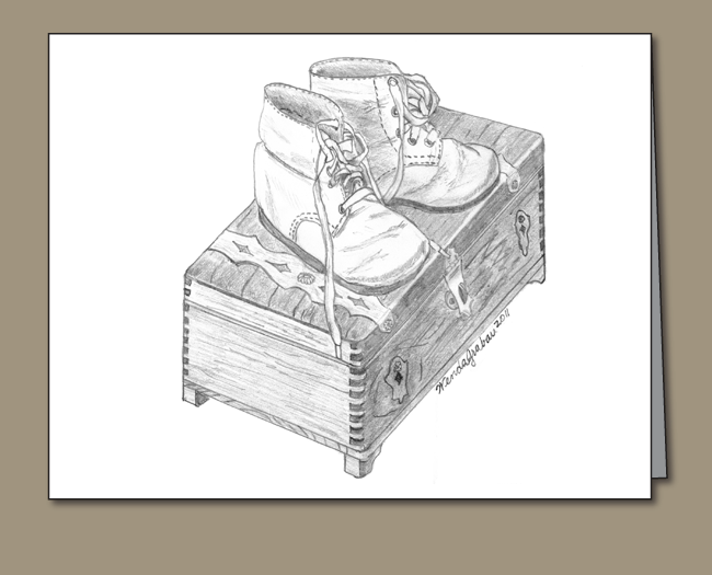 Baby shoes, baby shoes on cedar chest, baby shoes pencil sketch, Baby shoes greeting card,