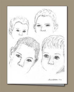 children's eyes, pencil sketch,