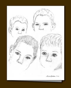 children's eyes, pencil sketch,