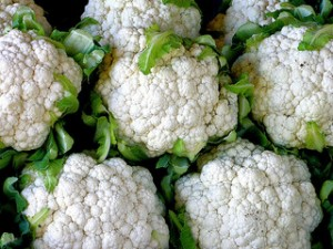 Cauliflower, head of cauliflower, white cauliflower,