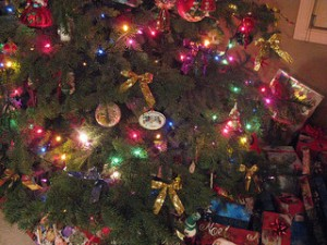 Christmas tree, Christmas gifts, Christmas lights, Christmas decorations,