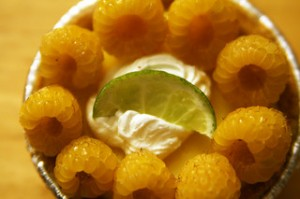 yellow raspberries, lime garnish,