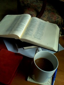 Bible, open Bible, coffee, coffee mug,