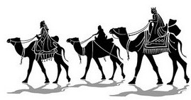Magi, camels, three kings, drawing of magi,