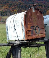 Mailbox, rural mailbox, Rusty mailbox,