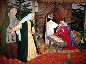 nativity scene, Christ child, manger, Mary and Joseph, sculpted nativity,