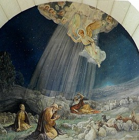 Shepherds and angel painting, Christmas story painting, Shepherds, angels, sheep in the fields,