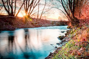 river, riverscape, iced river, trees, riverbank, sundown,
