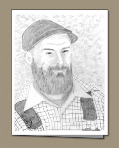 pencil sketch, lumberjack, woodsman, beard,