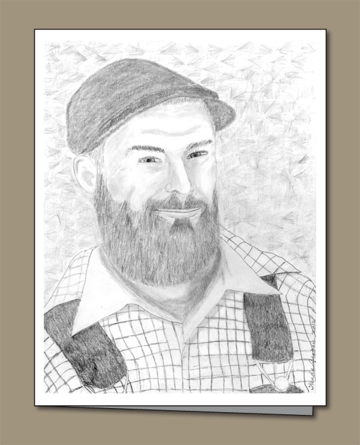 bearded man greeting card, Lumberjack greeting card, Woodsman greeting card,