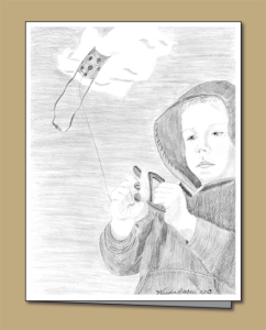 pecil sketch, child, kite-flying, flying kite,