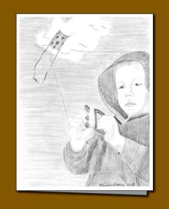 Child flying a kite greeting card, pencil sketch of kite and kite flier, Kite string, kite-flying,
