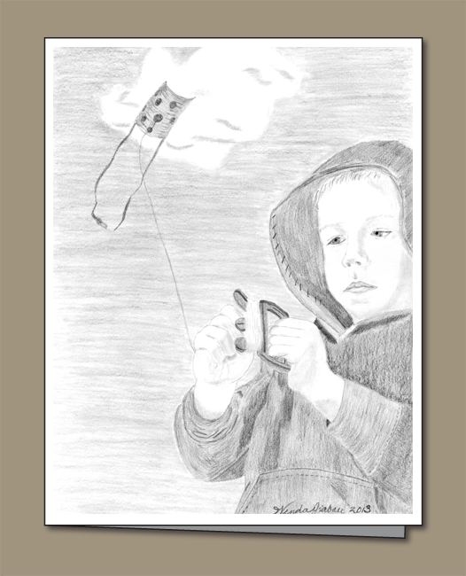 Child flying a kite greeting card, pencil sketch of kite and kite flier, Kite string, kite-flying,