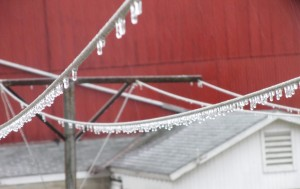 icy clothesline, crystals of ice hang from a clothesline, icecycles on clothesline, icecycles, springtime ice storm,