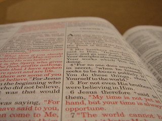 Bible, Holy Bible, red-letter Bible, New Testament, Open Bible, Bible text, Page in Bible,