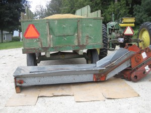 Oat Wagon, oats, elevator, John Deere tractor, tractor, slow moving vehicle sign,