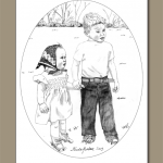 children holding hands, boy and girl in vintage clothing, boy, girl, boy and girl holding hands, pencil drawing,