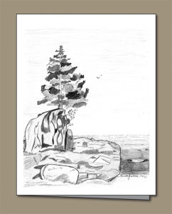 Lone tree, tree growing on rock, North Shore of Lake Superior, waves lapping in, sea gulls, pencil drawing, Lake Superior,
