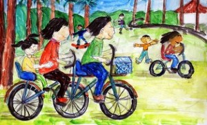 drawing, biking, bike ride, mom riding bike, dad riding bike, kids on bike,