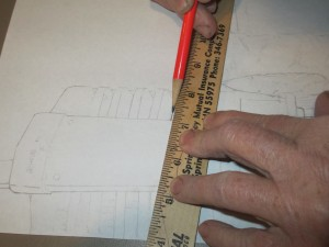 pencil sketch, tractor, straight-edge ruler, pencil,